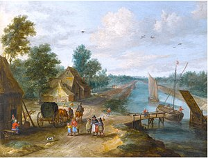 Jan van Kessel the Elder -  A River Landscape with Figures on a Track