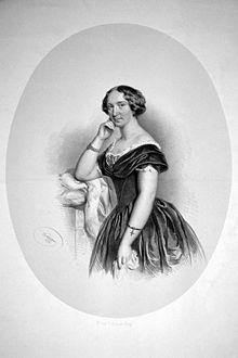 Jenny Bürde-Ney, lithograph by Josef Kriehuber, 1852 (Source: Wikimedia)