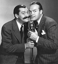 26205479b51 Hope with comic sidekick Jerry Colonna and his trademark handlebar mustache  in 1940