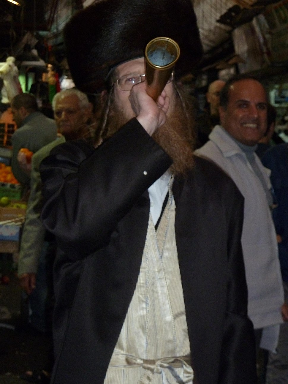 Jerusalem Mahane Yehuda Market Shabbat trumpeting