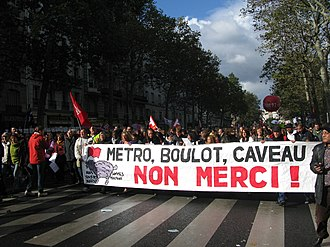 2010 French pension reform strikes - Protest in Paris, 16 October 2010.