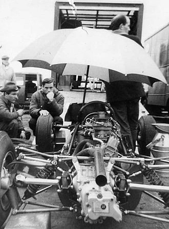 Jim Clark - Jim Clark in the Lotus pit at the German GP 1964