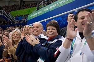 Mike Eruzione - Eruzione (right) at the 2010 Winter Olympics  with Joe and Jill Biden