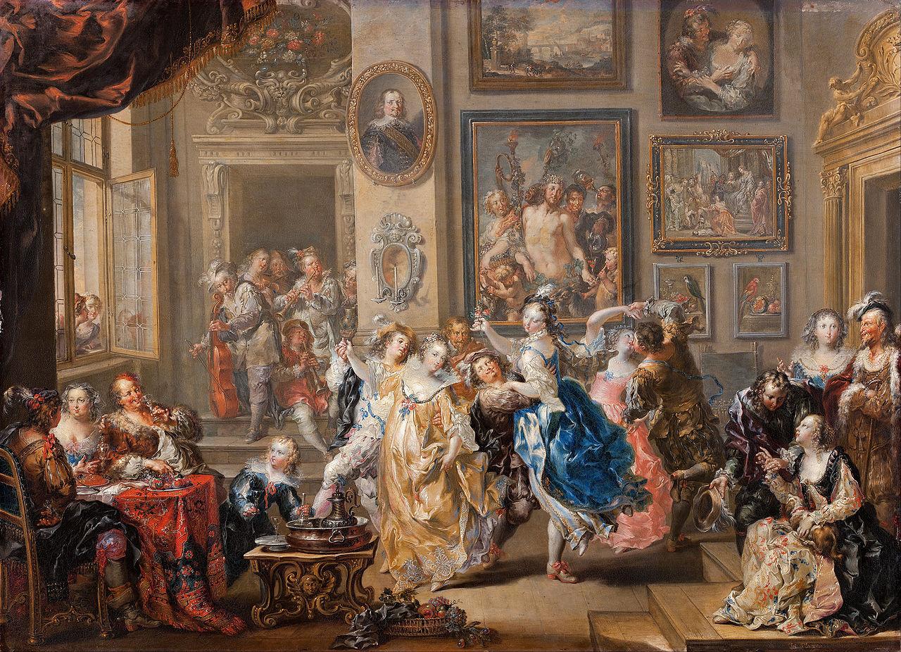 Иоганн Георг Платцер - Танцевальная сцена с интерьером дворца - Google Искусство Project.jpg