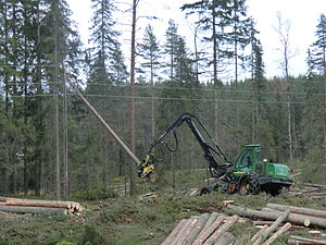 Harvester (forestry) - John Deere harvester in Sweden