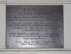 Photo of John Adams, Abigail Adams, and Abigail Adams bronze plaque