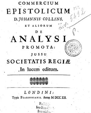 John Collins (mathematician) - Image: John Collins Commercium Epistolicum