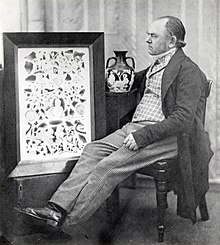 Black and white photograph of John Doubleday with the Portland Vase and an 1845 watercolour by Thomas H. Shepherd showing the shattered fragments