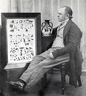 John Doubleday (restorer) - John Doubleday around 1845 with his restoration of the Portland Vase, and a watercolour of the shattered fragments