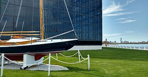 John F. Kennedy Presidential Library and Museum - The sailboat Victura and the exterior of the Library
