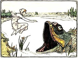 <A woman jumping from the bank of a river into a large fish-monster's mouth.
