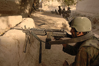 English: Afghan soldiers holding position duri...