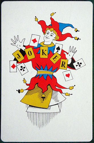 Wild card (cards) - A Joker, commonly used as a wild card