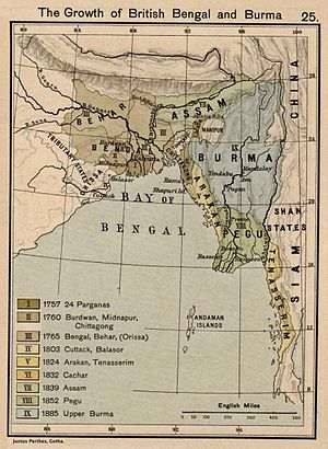 Eastern States Agency - 1907 map of British India including Bengal, Orissa and the Feudatory States.