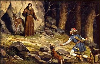 Procopius of Sázava - Duke Oldřich meets Procopius during a hunt (painting by Josef Mathauser)