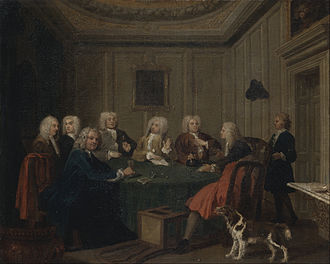 Etiquette - Members of a Gentlemen's club had to conform to a socially acceptable standard of politeness. The painting, A Club of Gentlemen by Joseph Highmore c. 1730.