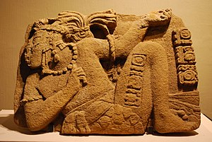 Regional Museum of Anthropology and History of Chiapas - Stone depicting Palenque ruler Joy Chitam II in a captive's position on a relief from Tonalá, Chiapas.