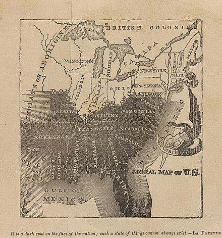 This anti-slavery map shows the slave states in black, with black-and-white shading representing the threatened spread of slavery into Texas and the western territories. Julius Rubens Ames, Moral Map of U.S. 1847 Cornell CUL PJM 2051 01.jpg