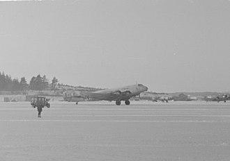 Junkers Ju 90 - Junkers Ju 90B-1 at Helsinki-Malmi airport in January 1944.