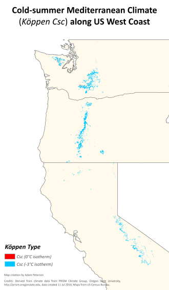 Mediterranean climate - Distribution of the relatively rare cold-summer Mediterranean climate (Köppen type Csc) in Washington, Oregon and California.
