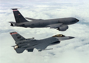 128th Air Refueling Wing - A KC-135R Stratotanker from the 128th Air Refueling Wing and an F-16C fighter from the 115th Fighter Wing, Wisconsin Air National Guard fly in formation