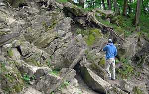 Kaali crater - Tilted dolomite bedrock in the walls of the main crater