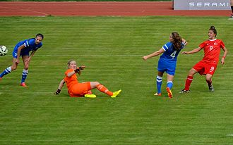 Turkey women's national under-17 football team - Turkey U-17 scoring a goal with Kader Hançar (red) in the 2015 UEFA Championship Second qualifying round – Group 1 match against Finland on April 11, 2015.
