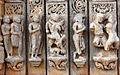 Kama Art Culture Sex carved in stone Saas Bahu Hindu temple Udaipur Rajasthan India 2014.jpg