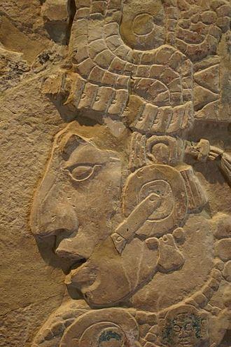 Palenque - K'inich Kan B'alam II, one of the many rulers of Palenque. Detail from the Temple XVII Tablet.