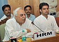 Kapil Sibal addressing at the launch of the web-based Planning and Monitoring Information System (WePMIS) and Financial and Accounting Monitoring System (FAMS) of Saakshar Bharat Programme.jpg