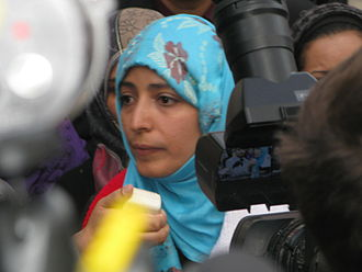 Tawakkol Karman - Tawakkol Karman protests outside the UN building, 18 October 2011.