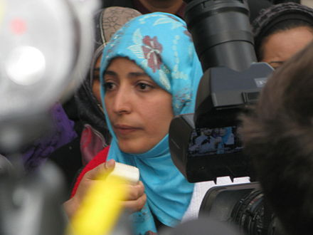Tawakkol Karman protests outside the UN building, 18 October 2011. Karman interview across from UN, Oct 18, 2011.jpg