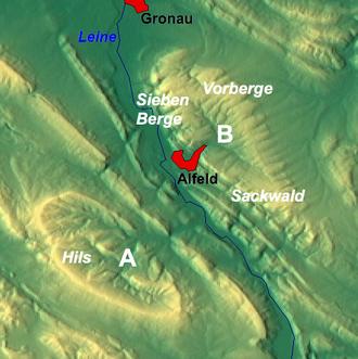 Sackwald - Image: Karte Hilsmulde A Sackmulde B