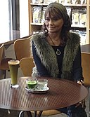 Karyn Calabrese with green drink.JPG