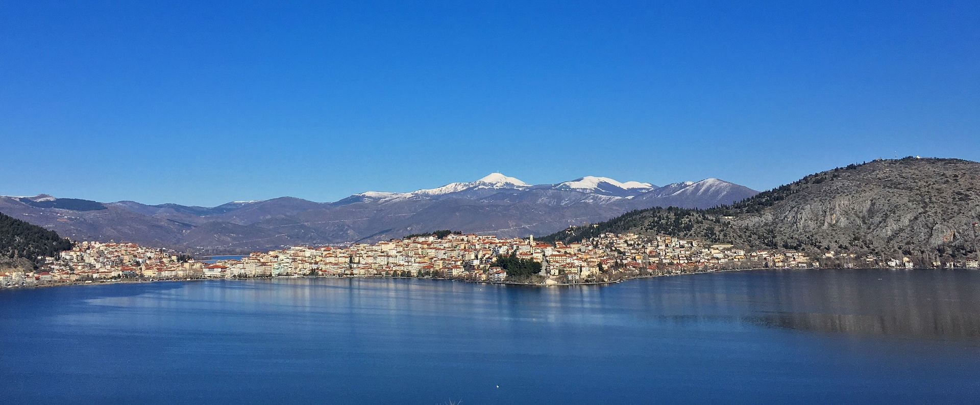 Kastria lake, Greece. In 4k, 3D