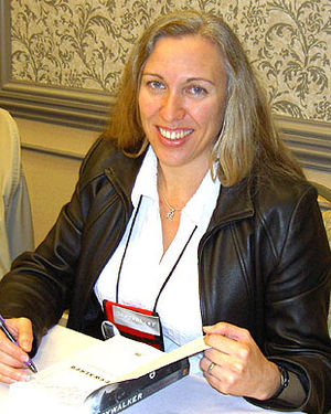 Kat Richardson - The author signing advance copy of her first book, Greywalker, at 2006 Bouchercon