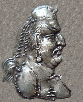 Alchon Huns - Portrait of King Khingila, founder of the Alchon Huns, on one of his coins, c. 430 – 490 CE.