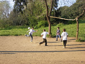Kids playing football in Villa Doria Pamphili,...