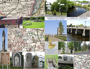 Kilcullen - Kilcullen images, including 18th- and 19th-century maps, Liffey, charity cafe and bookshop, round tower at Old Kilcullen, The Bridge, The Spout, Dun Ailinne memorial, Portlester Monument, credit union