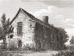 Kings Langley Palace - Engraving of a farm building which was said to incorporate some remains of Kings Langley Palace (J. Greig/F.W.L. Stockdale, 1816)