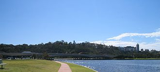 Kings Park, Western Australia - Kings Park from South Perth, overlooking the Narrows Bridge