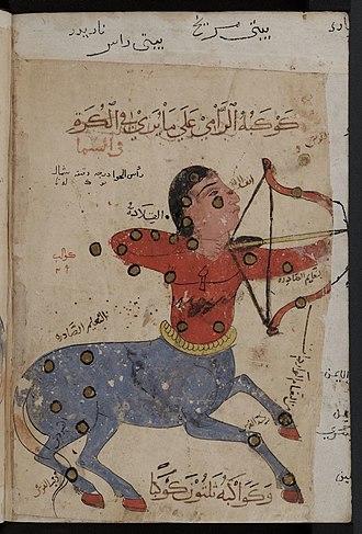 Sagittarius (astrology) - Image: Kitab al Bulhan zodiac centaur sagittarius