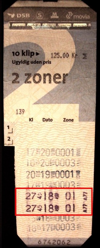 "24-hour clock - Danish multi-ride ticket with non-standard timestamp ""27:45""."