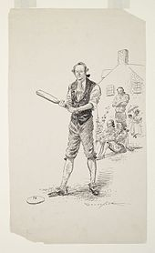 A drawing of several members of the New York Knickerbockers baseball team. One player is holding a baseball bat, while behind him three members are sitting or standing in front of a house.