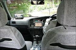 A taxi in Kyoto, equipped with GPS navigation system