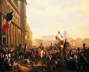 Éloi Firmin Féron - The arrival of Louis-Philippe at Hôtel-de-Ville on 31 July 1830 (1837 painting by Féron)