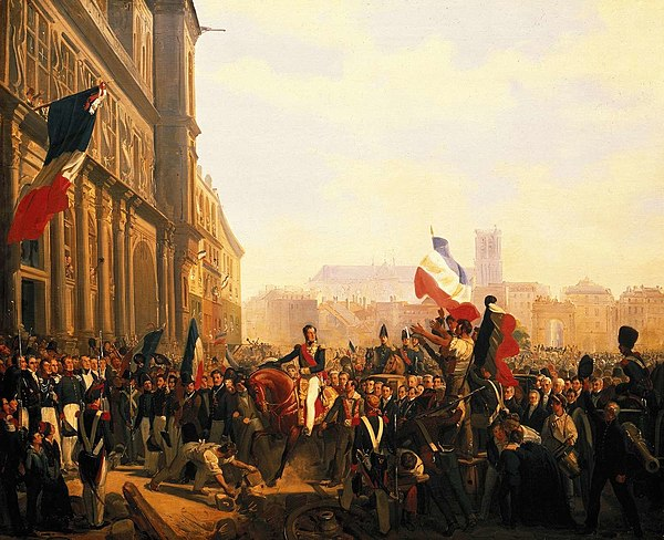 The Duke of Orleans arrives at the Hotel de Ville (31 July 1830) L'avenement de Louis-Philippe.jpg