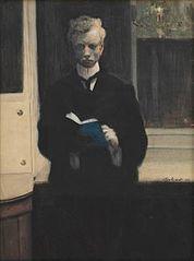 Zelfportret met blauw schetsboek