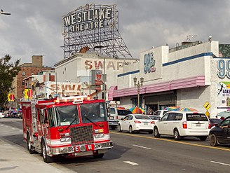 Westlake, Los Angeles - LAFD Engine 11, with the Westlake Theatre in the background, 2015