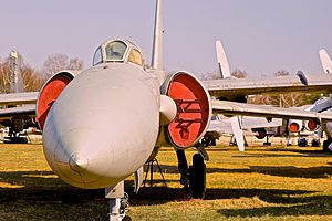 Lavochkin La-250 - La-250 in Monino. Notice separation of inlet from body for better airflow at supersonic speeds.